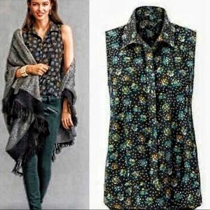CAbi Whimsy Midnight bouquet Sleeveless button M